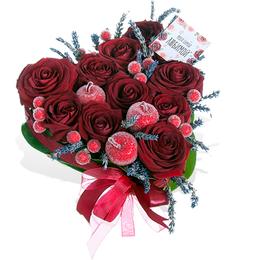 Сердце из Красных роз, Лаванды, Яблок и Ягод в сахаре ПЛАНЕТА ЦВЕТОВ Москва