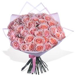Букет из 51 Персиковой Розы в Упаковке Москва
