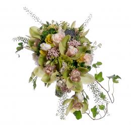 Свадебный Букет Невесты из Зеленых Орхидей, Кремовой Розы, Лотоса, Лизиантуса