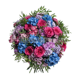 Букет из гортензии, роз, гиацинтов