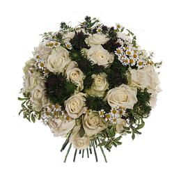Букет из 25 белых роз и ромашек