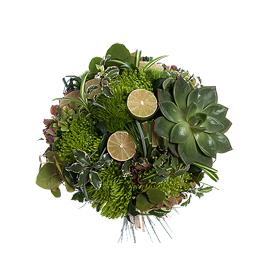 Букет из эхеверии, хризантемы и гортензии