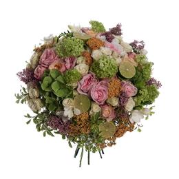 Букет из садовой розы, гортензии и фрезии