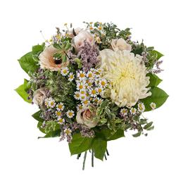 Букет из хризантемы, брассики, герберы и роз