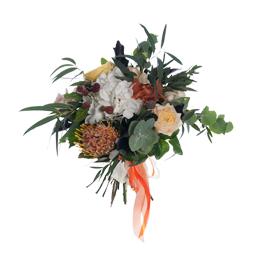 Букет из гортензии, садовых роз, орхидей и леукоспермума