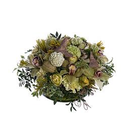 Композиция из зеленых орхидей, роз и асклепиаса