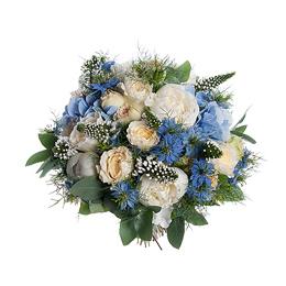 Свадебный Букет Невесты из Белых пионов, Белой Садовой Розы, Голубой гортензии