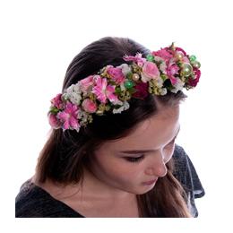 Ободок из цветов на голову из Розовой Кустовой Розы, Статицы, Гвоздики