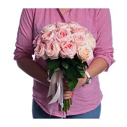 Букет из 21 Розовой Садовой Розы