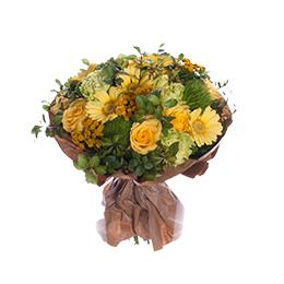 Букет из желтой герберы, желтой розы, гвоздики и аджании