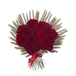 Букет из 15 бордовых роз и пшеницы