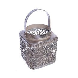 Подсвечник ажурный металлический, цвет: серебро