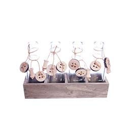 Набор из 4х вазочек на деревянной подставке