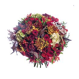 Букет на День Матери из Гортензии, Хризантемы, Розы, Альстромерии