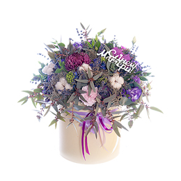 Цветы в шляпной коробке для Мамы, Гиацинты, Брассика, Хризантема, Хлопок и Лаванда