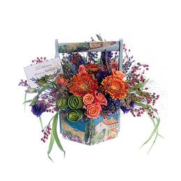 Корзина цветов на День Матери из махровых гербер, гиацинтов, шиповника и лаванды
