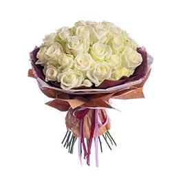 Букет из 35 Белых Роз в Крафте