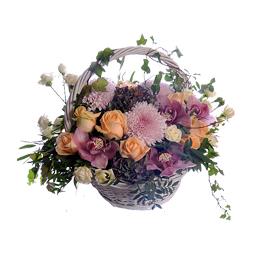 Корзина из Орхидей, Роз, Хризантемы и Гвоздик