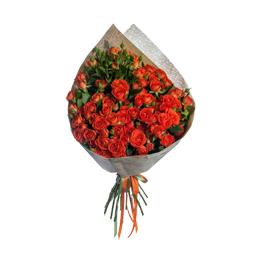 Букет из оранжевой кустовой розы
