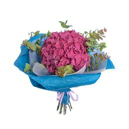 Букет из розовой гортензии и эвкалипта
