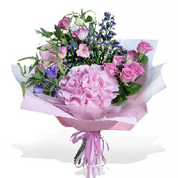 Букет из Гортензии, Эустомы и Розовой розы