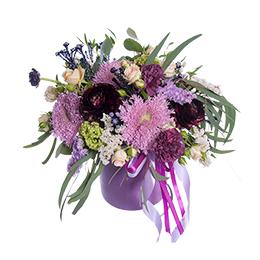 Цветы в Шляпной Коробке Хризантемы Ранункулюс Гвоздика Розы Эустома