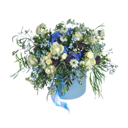 Цветы в Шляпной Коробке. Композиция из Гортензии, Роз и Нигеллы