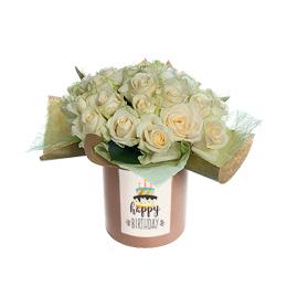 Цветы в коробке. Букет из белой  розы на гидроупаковке