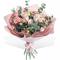 Букет из Розовой Эустомы, Гиперикума, Розы и Эвкалипта