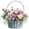 Корзина из Кремовых, Розовых Роз, Орхидеи и Эвкалипта