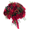 Букет из бордовых роз, красных гвоздик, ятрофы и ягод
